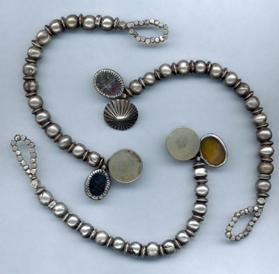 Antique Dowry Silver Bracelets with Stone Charms
