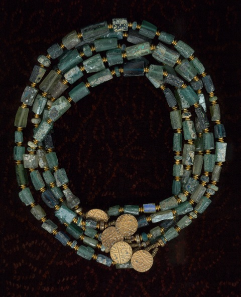 Ancient Afghanistan Glass Beads with Egyptian Faience and 1800's Gold Wash Coins, India