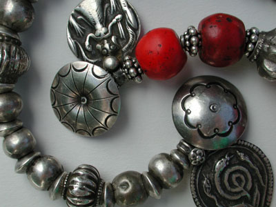 "Dowry Bracelets: Antique Silver, India, Nepali ""Coral"" (Dutch red glass, 1800's), Antique Silver Amulets, Rajasthan, India"