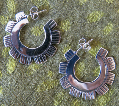 Silver Tribal Earrings, Thailand