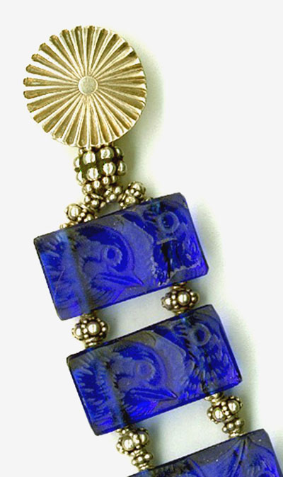 Detail: Noel Signature Clasp with Lalique Cobalt Glass