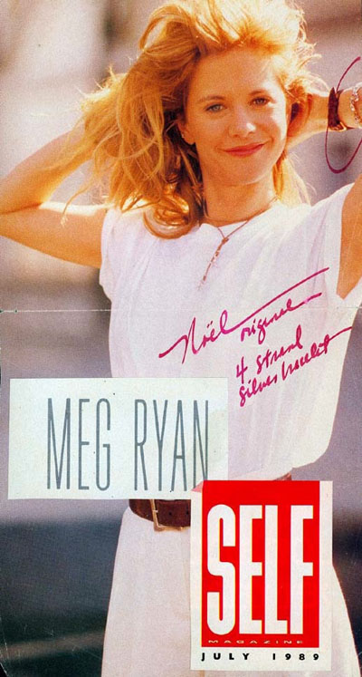 Cover of SELF Magazine in 1989 with Meg Ryan Wearing a Signature Noel 4 Strand Silver and Gold Bracelet