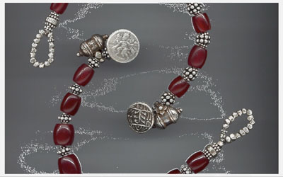 Antique Mizoram Carnelian, Burma, with Indian Silver, Rajasthan
