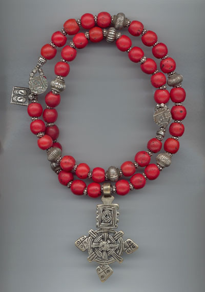 "Nepali ""Coral"" (1800's Dutch Red Glass) with Ethiopian Coptic Cross and Antique and Contemporary Indian Silver, Rajasthan"