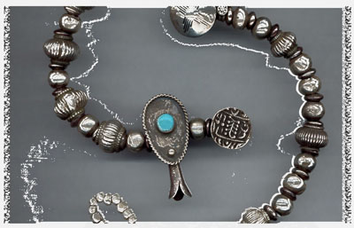 Antique Silver Bracelets with Navajo Silver Pawn Beads, Navajo Turquoise Silver Naja and Antique Hollow Silver Beads, Rajasthan, India