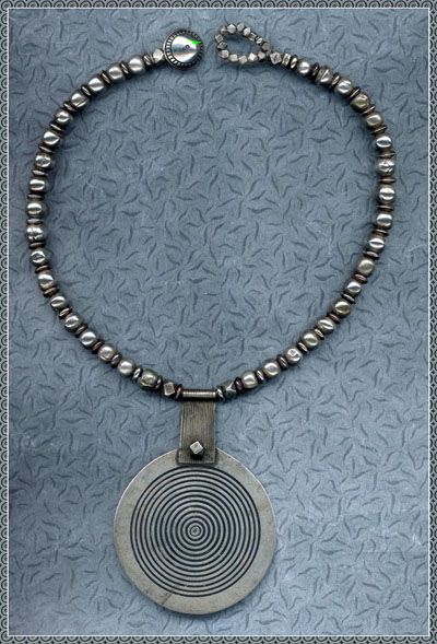 Necklace with Tiznit Silver Disc and Antique Hollow Silver, India